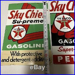 Sky Chief Texaco Petrox Gasoline Porcelain Gas Pump Advertising Signs Lot Of 3
