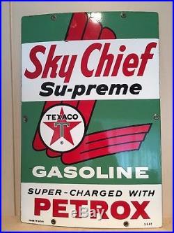 Super Clean 1962 Porcelain Texaco Sky Chief Gas Pump Fuel Advertising Sign