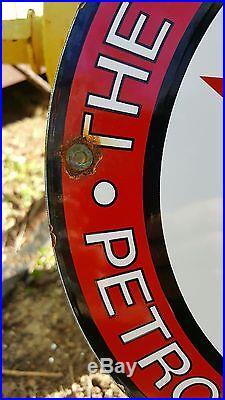 TEXACO 10-33 GASOLINE MOTOR OIL porcelain sign vintage TEXAS co. Gas pump plate