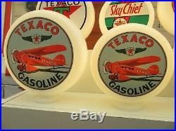 TEXACO Aviation Vintage Style Glass Petrol Pump Globes Gas Pump Globes