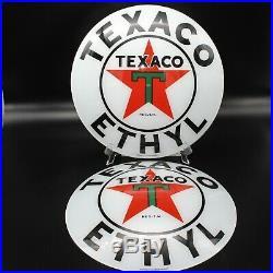 TEXACO ETHYL 15 Gas Pump Globe Faces/ Lenses HEAVY STRENGTH GLASS! (SET OF 2)