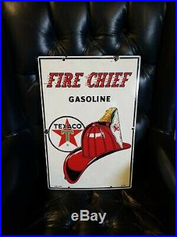 TEXACO Fire Chief Porcelain Pump Plate Gas Station Garage Advertising sign