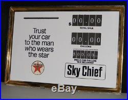 TEXACO GAS PUMP SIGN PORCELAIN PRICE FACE PLATE VTG 1950-60s Sky Chief BENNETT