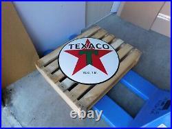 TEXACO Gas Gasoline Motor Oil Vintage Garage Porcelain Pump Sign Dealer Shield