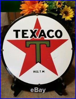 TEXACO Porcelain Sign 11 1/4 TEXAS PETROLEUM Gasoline Oil Gas Pump Plate