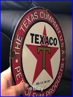 TEXACO RED STAR PORCELAIN GAS PUMP PLATE SIGN Vintage GASOLINE Oil LUBESTER B