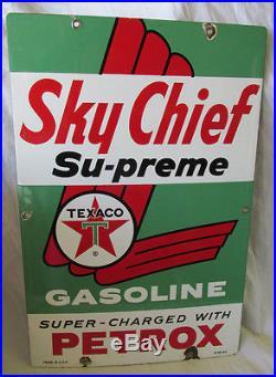TEXACO Sky Chief Porcelain Gas Pump Plate Sign 1960 Original Wayne Bennett Nice