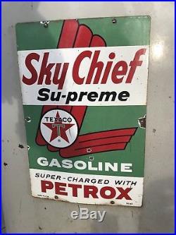 TEXACO Sky Chief Porcelain Gas Pump Plate Sign 1962 Original Wayne Pump Panel