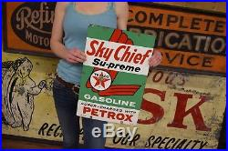TEXACO Sky Chief Porcelain Gas Pump Plate Sign Original Station Advertising