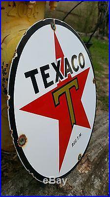 TEXACO THE TEXAS CO GASOLINE MOTOR OIL porcelain sign vintage petroleum gas pump