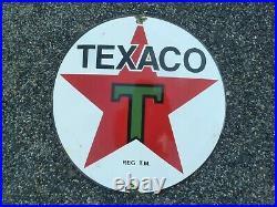 TEXACO porcelain sign advertising vintage gasoline 20 oil old gas USA Tex pump