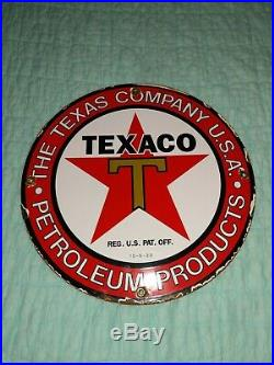 TEXAS CO PETROLEUM PRODUCTS 10-33 porcelain sign vintage gas pump plate texaco