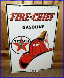 TEX-TACULAR Vintage 1947 Texaco Fire Chief Gas Pump Porcelain Enamel 18 Sign