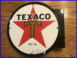 Texaco 12 Round Vintage Style Flag Sign Gas Pump Petroleum Texaco Porcelain