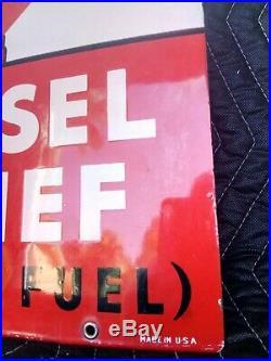 Texaco Diesel Chief Fuel Gas Pump Plate Sign 3-6-63 antique rare man cave 12x18
