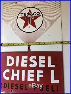 Texaco Diesel Chief L Fuel Gas Pump Plate Sign 4-6-62 Pump Plate Gas Station
