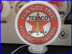 Texaco Filling Station Petrol Pump Globe, Gas Pump Globe with Lamp Base Vintage