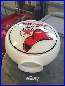 Texaco Fire Chief Gas Pump Milk Glass Globe One Piece Body With 2 Lenses