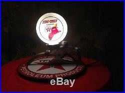 Texaco Fire Chief Lighted Mini Globe Mounted On Gas Pump Handle And Base