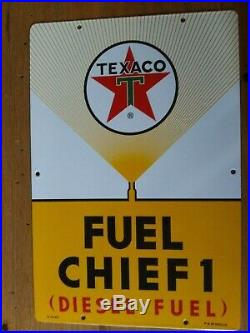 Texaco Fuel Chief 1 Diesel Gas Pump Porcelain Sign