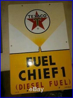 Texaco Fuel Chief 1 Porcelain Yellow Gas Pump Sign