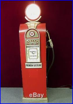 Texaco Gas Pump Multimedia Cabinet Clock Light Red Wood Metal Handle Hose