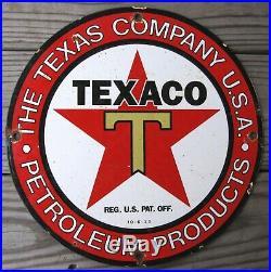 Texaco Gasoline Texas Vintage Porcelain Enamel Gas Pump Oil Service Station Sign