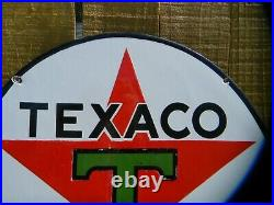 Texaco Green T 15 Inch Porcelain Sign Can Used On Oil Lubster Or Gas Pump