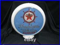 Texaco Marine White Gas Pump Globe (blue Background)