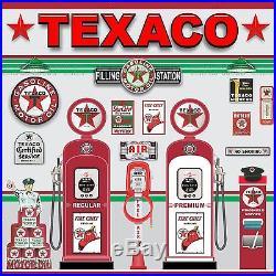 Texaco Old Gas Pump Station Scene Wall Mural Sign Banner Garage Art 5' X 5