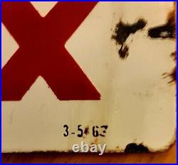 Texaco Sky Cheif Gas Pump Plate Porcelain Sign Original 1963
