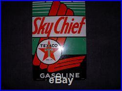 Texaco Sky Chief Porcelain Gas Pump Sign Original