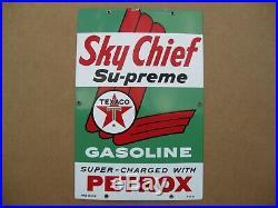 Texaco Sky Chief Su-Preme Petrox Porcelain Metal Gas Pump Sign