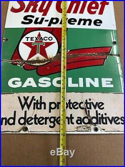 Texaco Sky Chief Su-Preme Porcelain Metal Gas Pump Sign Gas Pump Sign