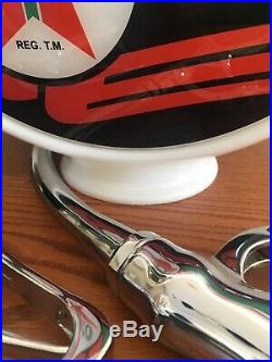 Texaco Skychief Gas Pump Milk Glass Globe One Piece Body With 2 Lenses