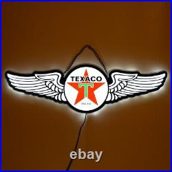 Texaco Star LED sign wall lamp aviation wings Neon hanger Gas pump globe light