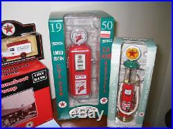 Texaco diecast fire trucks, gas pumps, and trucks