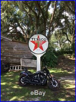 Texaco sign 72 Inch Diameter Built 3/12/1958 With Gas Pump