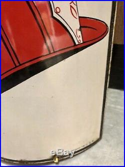 Texaco vtg curved porcelain Fire-Chief Gas Pump Oil Sign (1940 old as-is Shape)