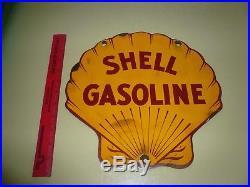 VINTAGE 1950's Shell GASOLINE GAS PUMP PLATE 12 PORCELAIN METAL SIGN