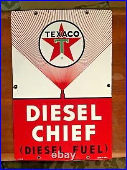 VINTAGE 1965 TEXACO DIESEL CHIEF PORCELAIN GAS PUMP PLATE SIGN WithMARKINGS NM