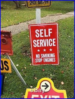 VINTAGE ORIGINAL SIGN SELF SERVICE GAS PUMP SIGN no smoking not Texaco Gulf