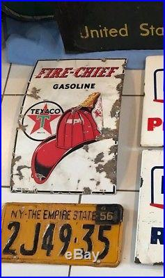 VINTAGE ORIGINAL TEXACO FIRE CHIEF GAS PUMP PLATE SIGN dated 1945 porcelain