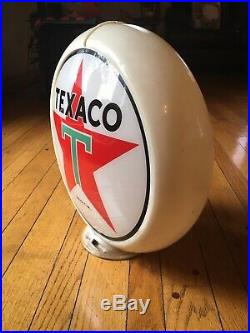 VINTAGE ORIGINAL TEXACO Gas Pump Topper TWO GLASS LENSES In Great Condition. Yes