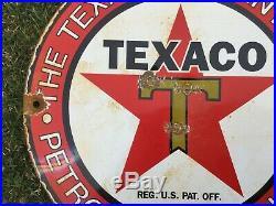 VINTAGE TEXACO GASOLINE / MOTOR Oil PORCELAIN GAS PUMP SIGN Dated 10-6-33