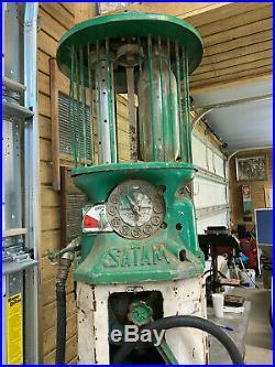 Very Rare Vintage Dual Cylinder Clock Face Style Satam Gas Pump Like Texaco LOOK