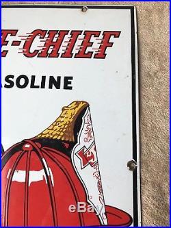 Vintage1950TexacoFire ChiefGasolineGas Pump Plate18 Porcelain Metal Sign