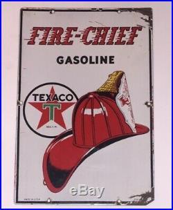 Vintage 1940 Texaco Fire Chief Gasoline Gas Pump Plate 18 Porcelain Metal Sign