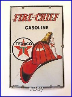 Vintage 1947 Texaco Fire Chief Gasoline Gas Pump Plate 18 Porcelain Metal Sign