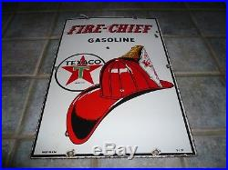 Vintage 1951 Texaco Fire Chief Gasoline Gas Pump Plate 18 Porcelain Metal Sign